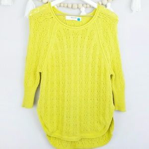 Anthropologie Sparrow Neon Yellow Sweater Small